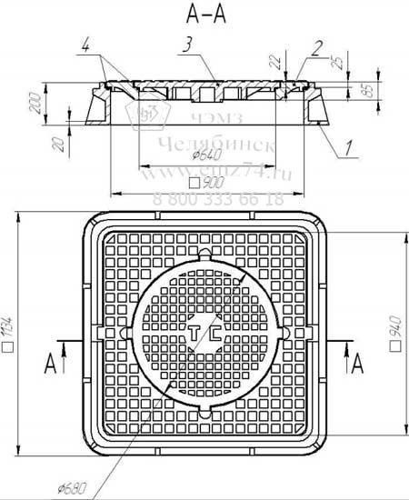 Схема люка чугунного тяжелого ТC 0298-250 трехсекционного на сайте ЧЭМЗ