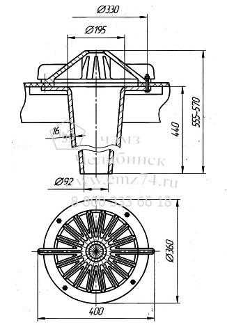 Схема воронки водосточной чугунной на сайте ЧЭМЗ