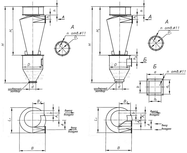Циклоны СИОТ-М и СИОТ-М1 (модернизированные), серии 5.907-1 схема