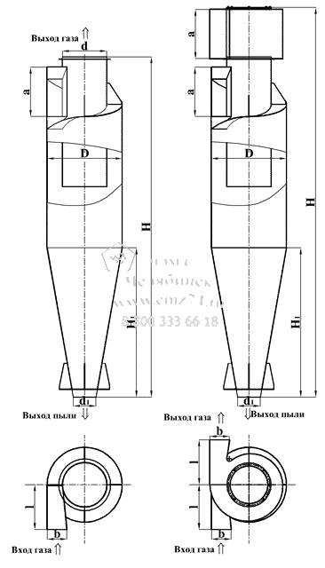 Схема циклона ЦН-11 без улитки и циклона ЦН-11 с улиткой на сайте ЧЭМЗ
