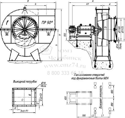 Габаритно-присоединительные характеристики дымососа ДН-15 на сайте ЧЭМЗ