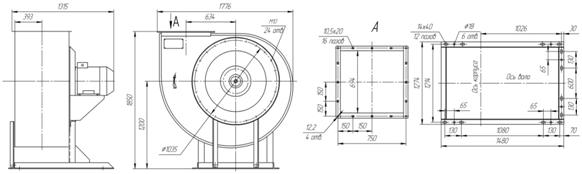 Габаритно-присоединительная схема вентилятора ВР 85-77 ДУ №9 на сайте ЧЭМЗ