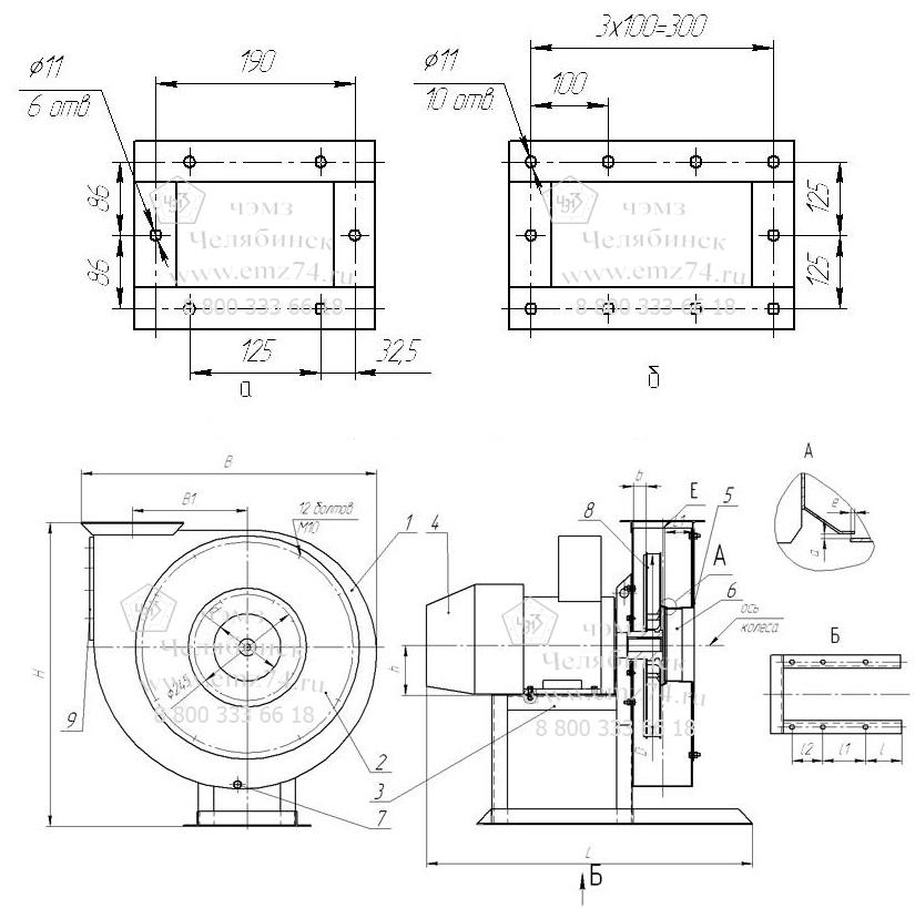 Габаритно-присоединительная схема вентилятора ВР6-13-6,3 на сайте ЧЭМЗ
