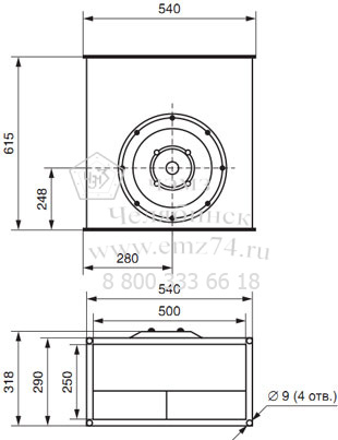 Габаритно-присоединительная схема вентилятора ВКП 50-25 на сайте ЧЭМЗ