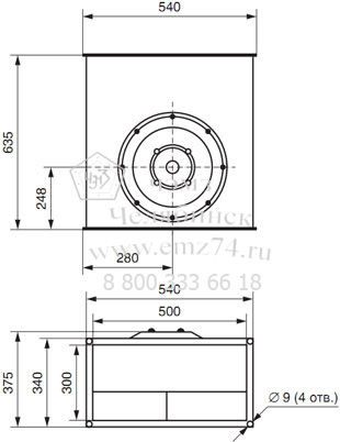 Габаритно-присоединительная схема вентилятора ВКП 50-30 на сайте ЧЭМЗ