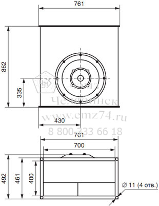 Габаритно-присоединительная схема вентилятора ВКП 70-40 на сайте ЧЭМЗ