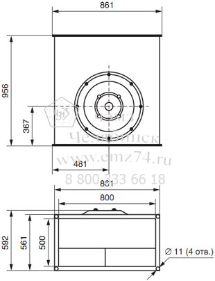 Габаритно-присоединительная схема вентилятора ВКП 80-50 на сайте ЧЭМЗ