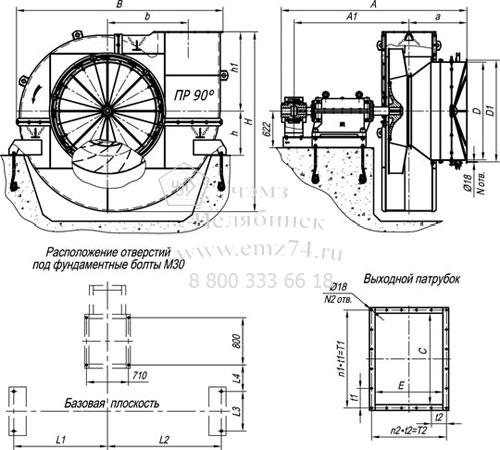 Габаритно-присоединительные характеристики дымососа ВДН-19 на сайте ЧЭМЗ