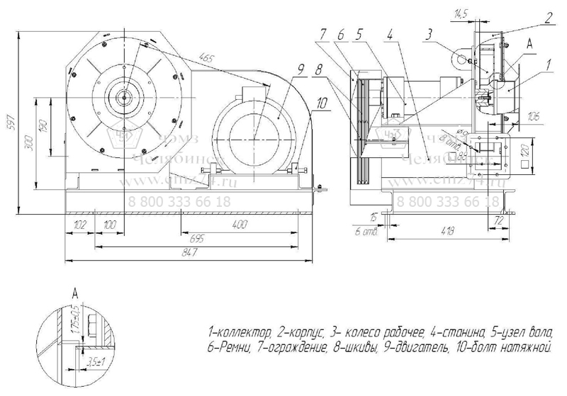 Габаритно-присоединительная схема вентилятора АВД-3,5 на сайте ЧЭМЗ