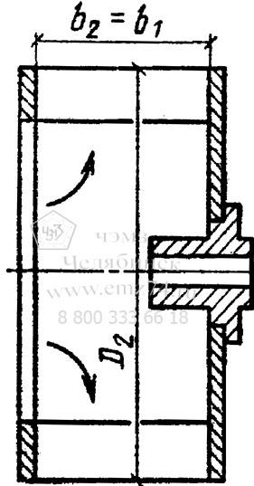 Схема конструктивного исполнения рабочего колеса с загнутыми вперед лопатками