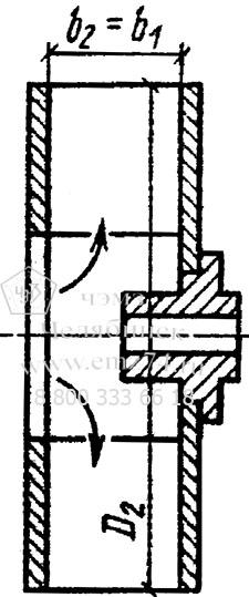 Схема конструктивного исполнения рабочего колеса с кольцевыми колесами 0,2-0,4D