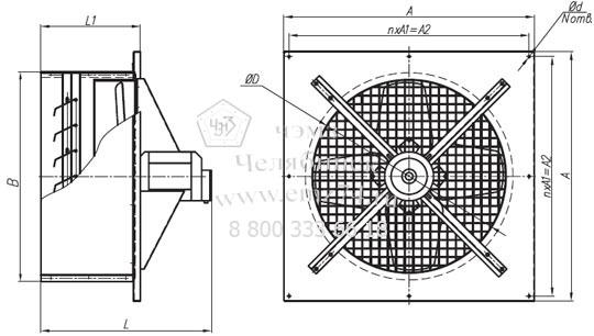Габаритно-присоединительная схема вентилятора оконного ВО-4 на сайте ЧЭМЗ