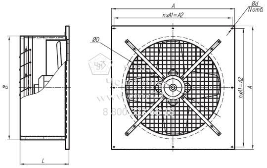 Габаритно-присоединительная схема вентилятора оконного ВО-8 на сайте ЧЭМЗ