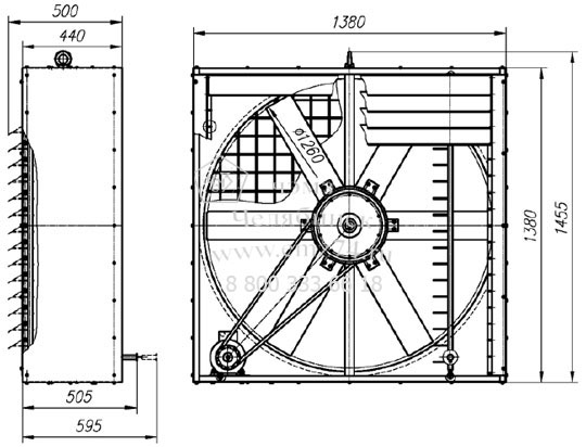 Габаритно-присоединительная схема вентилятора оконного ВО-12 на сайте ЧЭМЗ