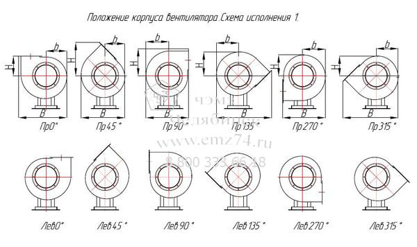 Габаритно-присоединительная схема вентилятора ВЦП 7-40 №3,15 на сайте ЧЭМЗ