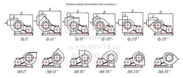 Габаритно-присоединительная схема вентилятора ВЦП 7-40 №10 (исп.5) на сайте ЧЭМЗ