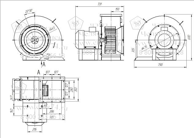 Габаритно-присоединительные размеры центробежного вентилятора ВДПЭ-4 на сайте ЧЭМЗ