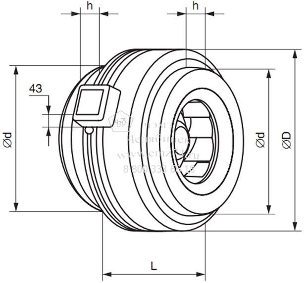 Габаритно-присоединительная схема вентилятора ВКК-200 на сайте ЧЭМЗ