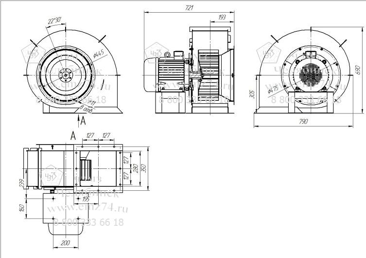 Габаритно-присоединительные размеры центробежного вентилятора ВКПЭ-4 на сайте ЧЭМЗ