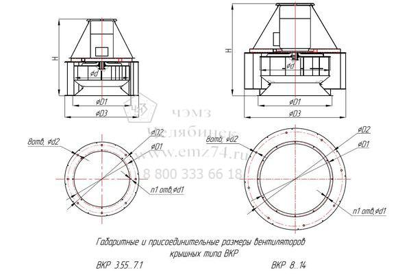 Габаритно-присоединительная схема вентилятора ВКР ДУ №14 на сайте ЧЭМЗ