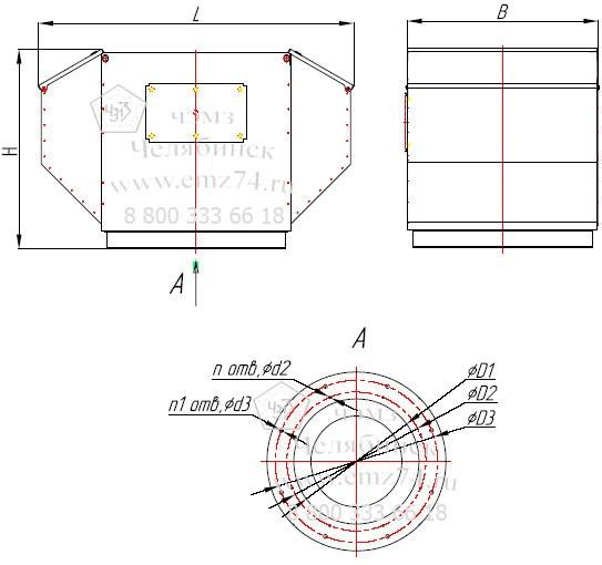 Габаритно-присоединительная схема вентилятора ВКРФ ДУ №3,55 на сайте ЧЭМЗ