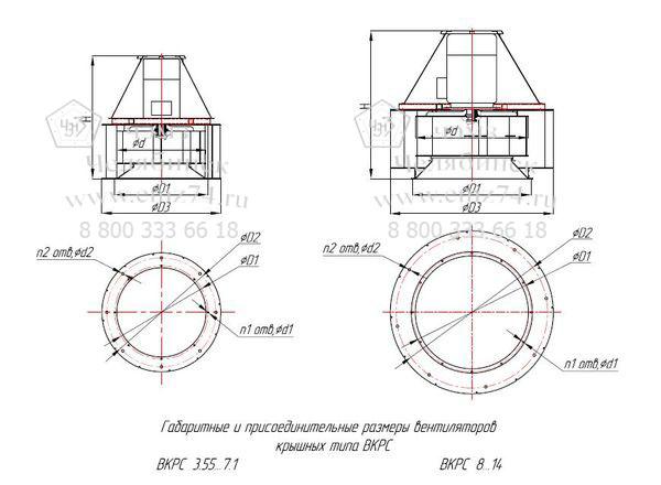 Габаритно-присоединительная схема вентилятора ВКРС №8 на сайте ЧЭМЗ