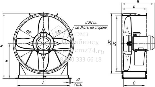 Габаритно-присоединительная схема вентилятора ВО 14-320-12,5 на сайте ЧЭМЗ