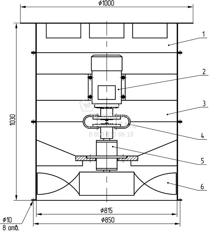 Габаритные размеры осевого вентилятора ВОМ-8 на сайте ЧЭМЗ