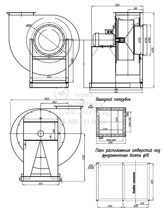 Габаритно-присоединительные размеры радиального пылевого вентилятора ВР 140-40-10 (исп.1) на сайте ЧЭМЗ