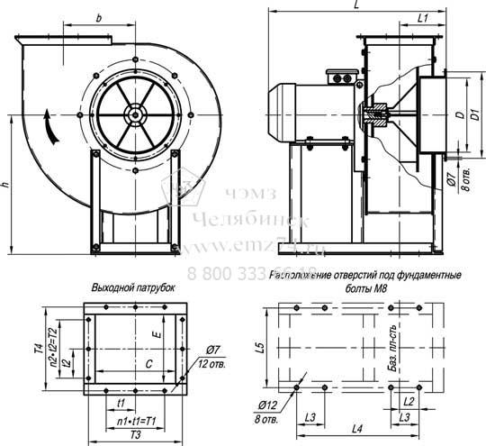 Габаритно-присоединительная схема пылевого вентилятора ВР 140-40-3,15 на сайте ЧЭМЗ