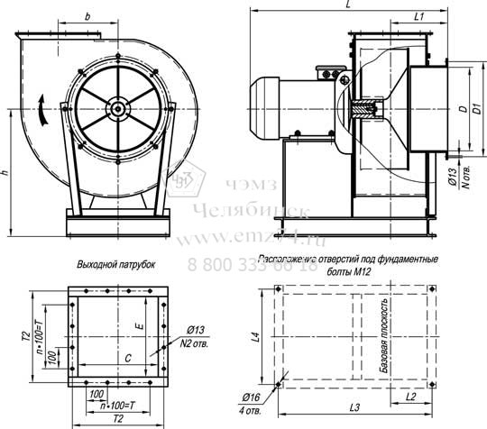 Габаритно-присоединительная схема пылевого вентилятора ВР 140-40-6,3 (исп.1) на сайте ЧЭМЗ