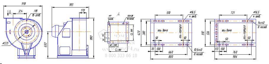 Габаритно-присоединительная схема вентилятора ВР 280-46-5 на сайте ЧЭМЗ