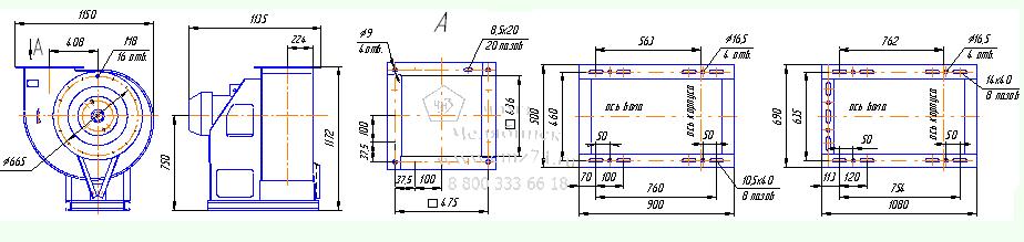 Габаритно-присоединительная схема вентилятора ВР 280-46-6,3 на сайте ЧЭМЗ