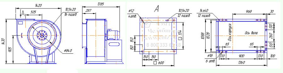 Габаритно-присоединительная схема вентилятора ВР 280-46-8 на сайте ЧЭМЗ
