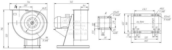 Габаритно-присоединительная схема вентилятора ВР 85-77 ДУ №4 на сайте ЧЭМЗ