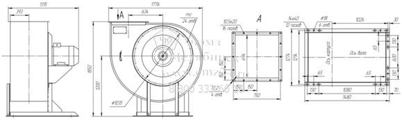 Габаритно-присоединительная схема вентилятора ВР 85-77 ДУ №10 на сайте ЧЭМЗ
