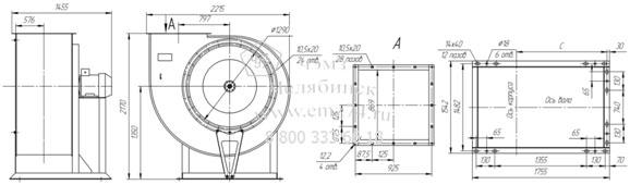 Габаритно-присоединительная схема вентилятора ВР 85-77 ДУ №12,5 на сайте ЧЭМЗ