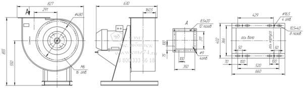 Габаритно-присоединительная схема вентилятора ВР 85-77 ДУ №4,5 на сайте ЧЭМЗ