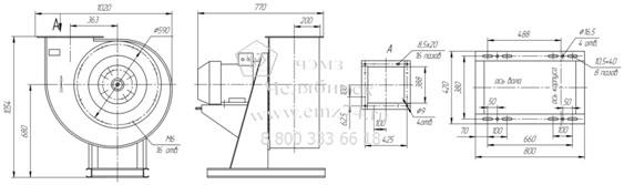 Габаритно-присоединительная схема вентилятора ВР 85-77 ДУ №5,6 на сайте ЧЭМЗ