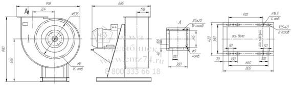 Габаритно-присоединительная схема вентилятора ВР 85-77 ДУ №5 на сайте ЧЭМЗ