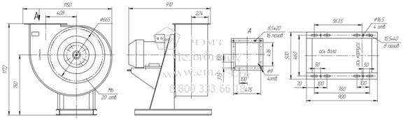 Габаритно-присоединительная схема вентилятора ВР 85-77 ДУ №6,3 на сайте ЧЭМЗ