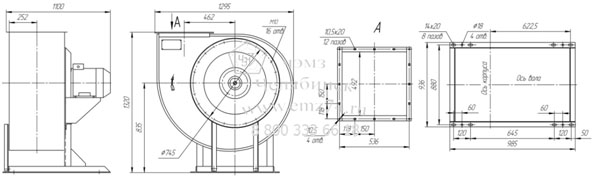 Габаритно-присоединительная схема вентилятора ВР 85-77 ДУ №7,1 на сайте ЧЭМЗ