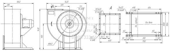 Габаритно-присоединительная схема вентилятора ВР 85-77 ДУ №8 на сайте ЧЭМЗ