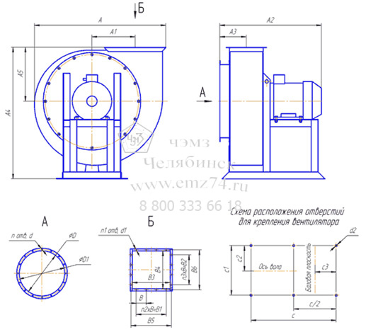 Габаритно-присоединительная схема пылевого вентилятора ВЦП-3,15 на сайте ЧЭМЗ