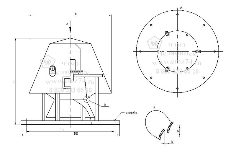 Габаритно-присоединительная схема вентилятора ВКР №6,3 на сайте ЧЭМЗ