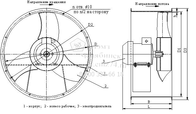 Габаритно-присоединительная схема вентилятора ВО 12-300-4 на сайте ЧЭМЗ