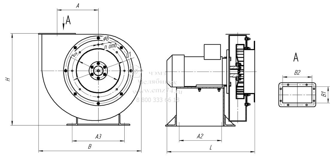 Габаритно-присоединительная схема вентилятора ВР 12-26-4,5 на сайте ЧЭМЗ