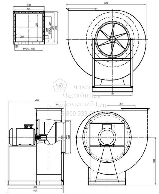 Положение корпуса вентиляторов ВР 140-40-10 (исп.5) на сайте ЧЭМЗ